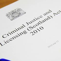 This image shows a print version of the criminal justice and licensing (scotland) act 2010.